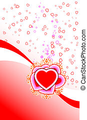 abstract St. Valentine card with flowers heart shapes and...