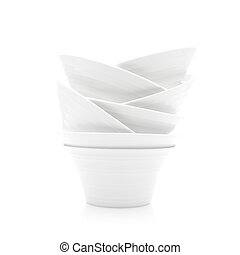 Abstract Stack of White Dishes on a White Background