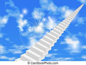 abstract stair in sky