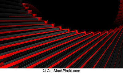 Abstract stair-like black red background