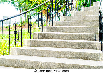 abstract stair step in garden
