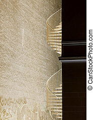 Abstract Staircase - A spiral staircase, building detail in...