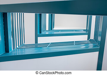 abstract staircase leads to high floors