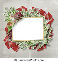 Abstract star background with paper frame and bunch of twigs...
