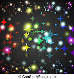Abstract star glowing shape with lights and dark background....