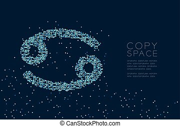 Abstract Star pattern Cancer Zodiac sign shape, star constellation concept design blue color illustration isolated on dark blue background with copy space, vector eps 10