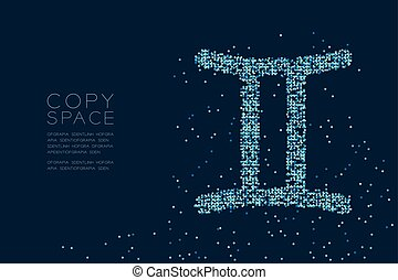 Abstract Star pattern Gemini Zodiac sign shape, star constellation concept design blue color illustration isolated on dark blue background with copy space, vector eps 10