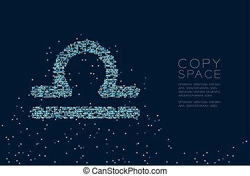 Abstract Star pattern Libra Zodiac sign shape, star constellation concept design blue color illustration isolated on dark blue background with copy space, vector eps 10