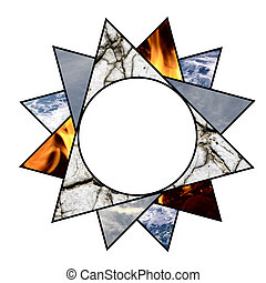 Abstract star with the four elements of nature
