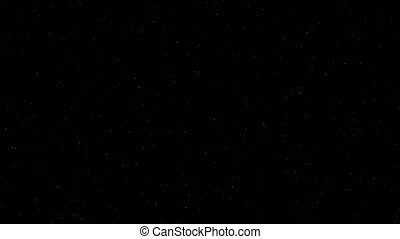 Abstract stars of galaxy fly on black background. Computer...