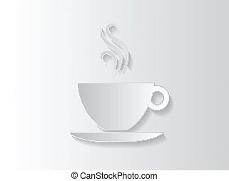 Abstract sticker background with a coffee cup