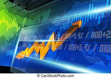 Stock Market Chart - Abstract Stock Market Chart with Glassy...