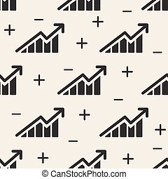 abstract stock market investment chart with arrow up and down pattern background