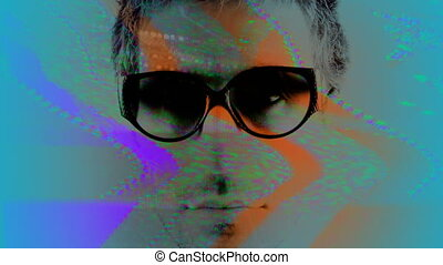 abstract stopmotion of three people wearing different retro sunglasses