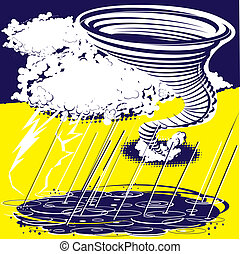 Stylized blue and yellow storm themed clip art