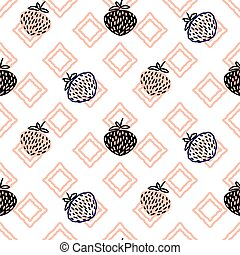 Abstract strawberries pink seamless vector pattern.