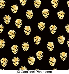 Abstract strawberry seamless pattern. Gold glittering background. Hand painted illustration.