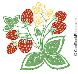 abstract strawberry with leaves