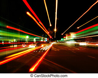Abstract Street Blur - Orange and Green Light Trails
