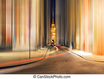 Abstract street in central part of Vienna, Austria