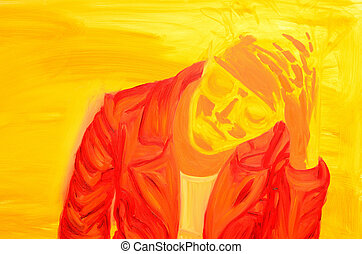 Abstract Stressed Person - Ambiguous person rubbing their...
