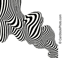 Abstract striped background wave design black and white line. Vector illustration