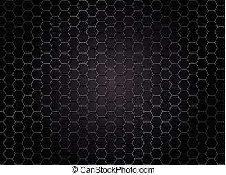Abstract striped hexagon pattern on dark background. Metal texture.