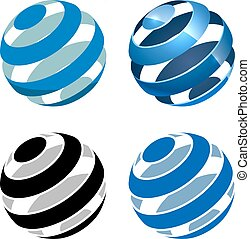 Abstract striped sphere vector sign isolated on white background.