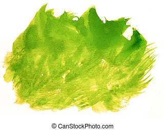 abstract stroke ink watercolor yellow, green brush water...