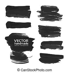 Abstract strokes of black ink on a white background
