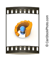 Abstract structure with blue bal in the center . The film strip