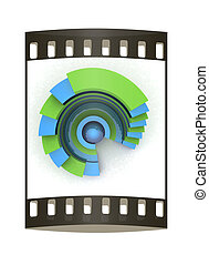 Abstract structure with blue bal in the center. The film strip