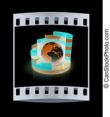 Abstract structure with blue earth in the center . The film strip