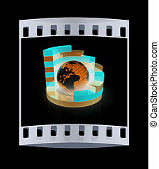 Abstract structure with blue earth in the center. The film strip