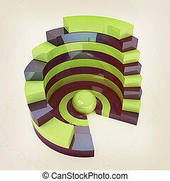 Abstract structure with green bal in the center. 3D illustration. Vintage style.