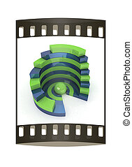 Abstract structure with green bal in the center. The film strip