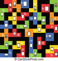 Abstract style modern and vintage mobile gadgets on color blocks