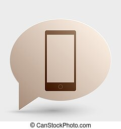 Abstract style modern gadget with blank screen. Template for any content. Brown gradient icon on bubble with shadow.