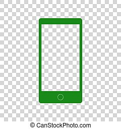 Abstract style modern gadget with blank screen. Template for any content. Dark green icon on transparent background.