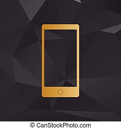 Abstract style modern gadget with blank screen. Template for any content. Golden style on background with polygons.