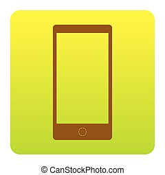 Abstract style modern gadget with blank screen. Template for any content. Vector. Brown icon at green-yellow gradient square with rounded corners on white background. Isolated.