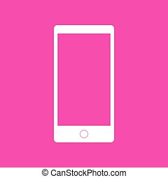 Abstract style modern gadget with blank screen. Template for any content. White icon at magenta background.