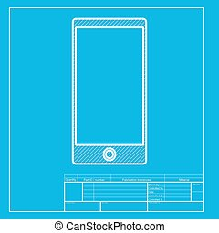 Abstract style modern gadget with blank screen. Template for any content. White section of icon on blueprint template.