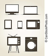 Abstract style modern gadgets and kitchen technics