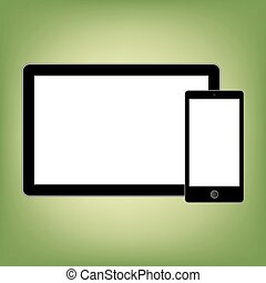Abstract style modern gadgets with blank screen. Template for any content