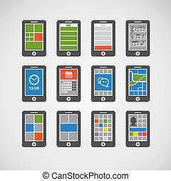 Abstract style modern mobile gadgets with color interface