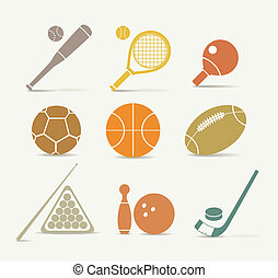 Abstract style sports equipment icons