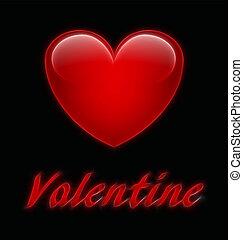 Valentine - Abstract stylised Valentine message on black...
