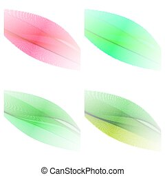 Abstract stylish color wave design elements - set of 4 color wav