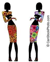 Abstract stylish slender women in ornate dresses